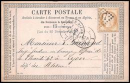 1318 Carte Postale (postcard) Précurseur N°55 Gare DE Dijon Bourgogne 10/02/1876 OFF 18 Cères - Enteros Postales