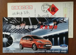 Ford Fiesta Automobile,Wind Tunnel Laboratory,China 2010 Yuyao Car Sale & Service Company Advertising Pre-stamped Card - Voitures