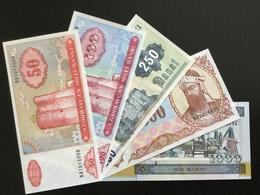 AZERBAIJAN SET 50 100 250 500 1000 MANAT BANKNOTES 1992-2001 UNC - Azerbaïjan