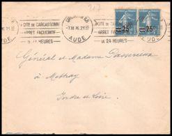 1636 Lettre (cover) N°217 Semeuse Carcassonne Aude Pour Mathey Indre Et Loire 1926 - Marcofilia (sobres)