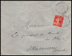 1920 Lettre (cover) N°360 Semeuse Portel Aude 09/08/1939 Seul Pour Villasavary - Marcofilia (sobres)