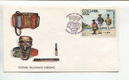COLOMBIA - FESTIVAL VALLENATO - TURISMO. INSTRUMENTOS MUSICALES MUSIC. AÑO 1980 SOBRE PRIMER DIA ENVELOPE FDC - LILHU - Vacaciones & Turismo
