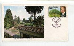 COLOMBIA - CASA DE CAMPO, MOSQUERA, CUNDINAMARCA - GUSTAVO URIBE RAMIREZ. AÑO 1980 SOBRE PRIMER DIA ENVELOPE FDC - LILHU - Celebridades