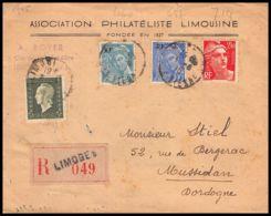 2571 France N°714 Gandon + 694 Dulac Affranchissement Composé Mixte Recommandé Limoges Lettre Cover Mussidan Dordogne - Storia Postale