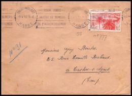 2660 France N°777 Cannes Chalons Sur Marne Gare 1942 Krag Seul Sur Lettre (cover) Pour Castres-sur-l'Agout Tarn - Marcophilie (Lettres)