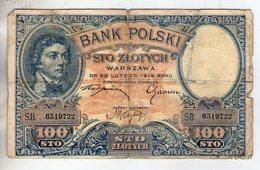 Pologne. 100 Zlotych 1919. Mauvais état. Déchirure En Haut Sur La Pliure - Pologne