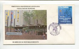 COLOMBIA - PONTIFICIA UNIVERSIDAD JAVERIANA, FACULTAD DE DERECHO. AÑO 1980 SOBRE PRIMER DIA ENVELOPE FDC - LILHU - Otros