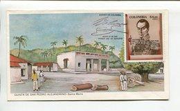 COLOMBIA - QUINTA DE SAN PEDRO ALEJANDRINO - SANTA MARTA. AÑO 1980 SOBRE PRIMER DIA ENVELOPE FDC - LILHU - Celebridades