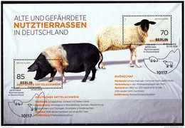 A00-28) BRD - Mi Block 81 = 3261 / 3262 - OO ESST 10117 BERLIN - Ausgabe 01.09.2016 - 155C  Nutztierrassen - Gebraucht