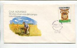 COLOMBIA - CAJA AGRARIA, 50 AÑOS AL SERVICIO DEL CAMPO COLOMBIANO. AÑO 1981 SOBRE PRIMER DIA ENVELOPE FDC - LILHU - Agricultura