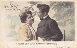 """CARTE FANTAISIE. COUPLE. SÉRIE COMPLÈTE DE 5 CARTES COLORISÉES.  """" LES YEUX MIROIR DE L'AME """". ANNÉE 1905 - Couples"""