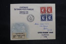 FRANCE - Enveloppe FDC En 1949 - Bande Citex ( Découpe Des Non Dentelés ) - L 34126 - ....-1949