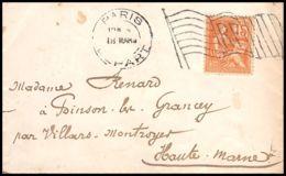 4376 France Lettre (cover) N°117 Oblitération Drapeau Pour Villars Montroyer 18/3/1901 - Marcophilie (Lettres)