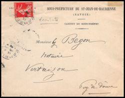 4444 France Lettre (cover) N°138 Semeuse Nuance écarlate St Bjean De Maurienne Pour Vertaizon Puy-de-Dome 1908 - Marcofilia (sobres)