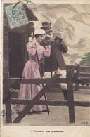 """CARTE FANTAISIE. COUPLE. SÉRIE COMPLÈTE DE 5 CARTES COLORISÉES.  """" UN CHALET DANS LA MONTAGNE """". ANNÉE 1905 - Couples"""