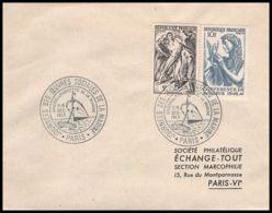 4649/ France Lettre (cover) N°762 + 790 Commémoratif Oeuvres Sociales De La Marine 1953 - Marcophilie (Lettres)