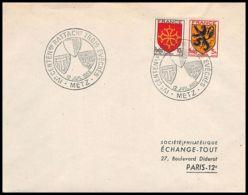 4663/ France Lettre (cover) N°602 + 603 Trois Evechés Metz 1952 Commémoratif - Marcophilie (Lettres)