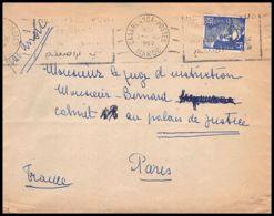 4828/ France Lettre (cover) N°886 Gandon Krag Casablanca Pour Paris 1953 - Postmark Collection (Covers)