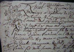 Mars 1650 Extrait Du Registre Des Baptêmes  Paroisse De Saint Antoine :Gabriel François Daraine Et Marguerite De Billy - Manuscripts