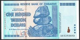 Zimbabwe 100 Trillion Dollars 100 000 000 000 000 2008 AUNC - Zimbabwe