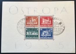 1935 OSTROPA Block 3 KÖNIGSBERG SCHIFFPOST GROSSES MOOSBRUCH Sonderstempel  (Deutsches Reich Bloc Renne Caribou Moor - Blocks & Kleinbögen