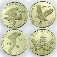 FALCON ISLANDS 2018 3 MONETE DA 5 DOLLARI UCCELLI BIRD OTTONE FDC - Collections