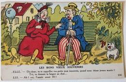 CPA Illustrateur Humour Couple Sur Un Banc Les Bons Vieux Souvenirs - 1900-1949