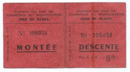 ANCIEN TICKET MONTEE ET DESCENTE CHEMIN DE FER DE CHAMONIX AU MONTENVERS ( MER DE GLACE ) - Spoorwegen