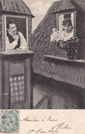 """CARTE FANTAISIE. COUPLE. SÉRIE COMPLÈTE DE 5 CARTES   """" UN TOIT POUR DEUX """". ANNÉE 1905 - Couples"""
