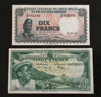 BELGIAN CONGO SET 10, 20 FRANCS BANKNOTES 1957-1958 AU - [ 5] Belgian Congo