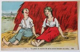 CPA Illustrateur Humour Couple Tu Peux Te Vanter De M'en Avoir Bouché Un Coin - 1900-1949