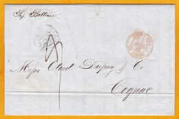 1846 - LAC 2 Pages En Anglais De New York, USA Vers Cognac France - Entrée Par La Havre - Cad Transit - Ligne De Rouen - Schiffspost