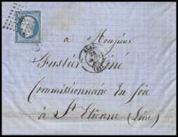6927 LAC Alais Gard 1860 N 14 Napoleon 20c St Etienne Loire Fustier France Lettre (cover) - 1849-1876: Période Classique