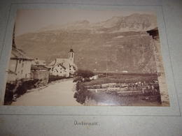 RARE LOT DE 2  PHOTOS  1888 Switzerland SUISSE   UR Uri Andermatt  VUE DU VILLAGE ET VUE DE L OBERALP - Alte (vor 1900)