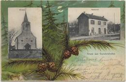 67GUNDERSHOFEN . Bonjour En 2 Clichés Couleur , église , Gare , édit : T Lehmstedt Niederbronn , écrite , état Extra - France