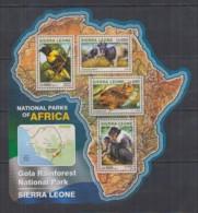 S664. Sierra Leone - MNH - 2016 - Fauna - Animals - Parks Gola Rainforest - Sellos