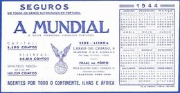 Advertising Card/ Calender - A Mundial, Compnhia De Seguros / Lisboa E Porto - 1944 - Publicidad