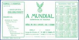 Advertising Card/ Calender - A Mundial, Compnhia De Seguros / Lisboa E Porto - 1960 - Publicidad