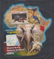 S664. Sierra Leone - MNH - 2016 - Fauna - Wild Animals - Parks Maasai Mara Bl - Timbres