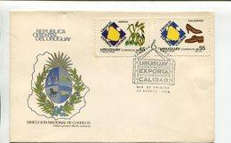 URUGUAY - EXPORTA CALIDAD, ARROZ, CALZADO. AÑO 1966 SOBRE PRIMER DIA ENVELOPE FDC - LILHU - Fábricas Y Industrias
