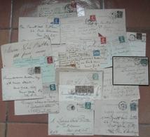 Lot De 24 Enveloppes & Cartes à Destination Des U.S.A. / Affr. Sage - Semeuse - Pasteur - Marcophilie (Lettres)