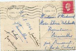 FRANCE CARTE POSTALE  DEPART LOURDES 9 VII 46 Htes PYRENEES POUR LA FRANCE - 1944-45 Maríanne De Dulac
