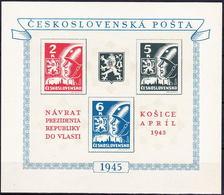 ** Tchécoslovaquie 1945 Mi 408-10 - Bl.6 (Yv BF 8), (MNH) - Tschechoslowakei/CSSR