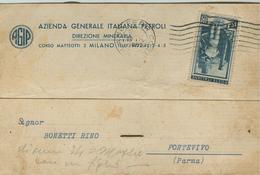 """AGIP"" AZIENDA GENERALE ITALIANA PETROLI,MILANO, CARTOLINA COMMERCIALE, 1951,TIMBRO POSTE MILANO - Historical Documents"