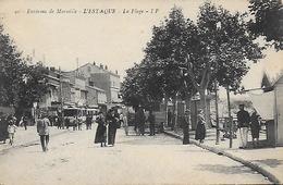 13)   L'  ESTAQUE  - Environs De Marseille - La Plage  (  Tramways  ) - L'Estaque