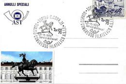 ITALIA - 1970 TORINO 4° Congresso Filatelico ASIF Ass. Sanitari Italiani Fil. - Monumento A EMANUELE FILIBERTO DI SAVOIA - Medicina
