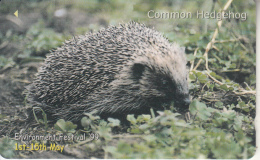 """JERSEY ISL.(GPT) - Environment Festival """"99/Common Hedgehog, CN : 74JERA(normal 0), Tirage %20000, Used - Phonecards"""