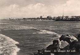 RIMINI-LA SPIAGGIA DAL MOLO-REAL PHOTO-VIAGGIATA 1965  -F.G - Rimini