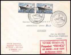 7731 Voyage Inaugural Du Paquebot France 1952 Binghamton Usa Poste Navale Militaire France Lettre (cover) - Marcofilie (Brieven)