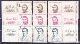 ** Tchécoslovaquie 1948 Mi 546-8+ Zf (Yv 474-6+vignettes), (MNH) - Tschechoslowakei/CSSR